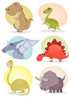 collezione di dinosauri cartoon vettore