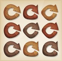 Icone di legno Aggiorna frecce per il gioco Ui
