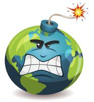 Personaggio della bomba di avvertimento del pianeta terra vettore