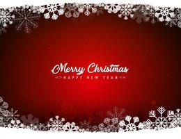 Fondo rosso di Buon Natale con i fiocchi di neve
