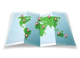 Mappa del mondo di viaggio con i perni GPS