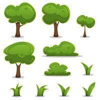 Alberi di cartone animato, siepi e foglie di erba impostate