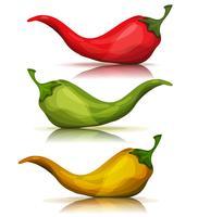 Chili Pepper caldo rosso, verde e giallo del fumetto vettore