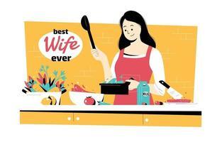 felice bella moglie che cucina in cucina vettore