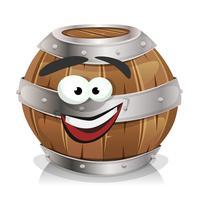 felice personaggio di botte di legno vettore