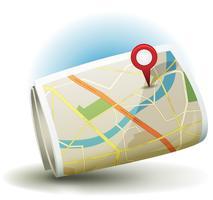 Icona mappa città dei cartoni animati con pin GPS