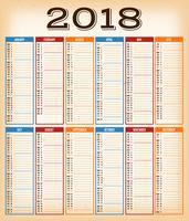 Calendario di design vintage per l'anno 2018