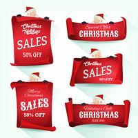 Rotolo di pergamena natalizia Santa Holding vettore