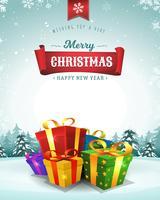 Cartolina d'auguri di vacanze di buon Natale vettore