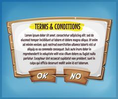 Termini e condizioni di legno Pannello di accordo per il gioco Ui