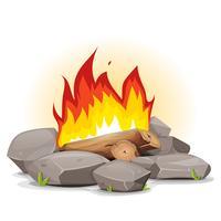 Fuoco di bivacco con fiamme accese