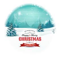 Paesaggio di Natale e Capodanno a palla di neve vettore