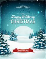 paesaggio di Natale vintage blu vettore