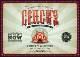 Poster vintage circo orizzontale con raggi di sole