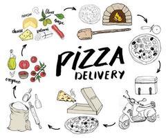 insieme di schizzo disegnato a mano del menu della pizza. modello di progettazione di preparazione della pizza con formaggio, olive, salame, funghi, pomodori, farina e altri ingredienti. illustrazione vettoriale isolato su sfondo bianco