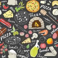 Schizzo disegnato a mano del modello senza cuciture della pizza. pizza doodles sfondo di cibo con farina e altri ingredienti alimentari, forno e utensili da cucina. illustrazione vettoriale