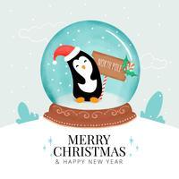 Carino palla di Natale con pinguino all'interno vettore