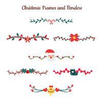 Raccolta di bordi di Natale carino con fiori ed elementi vettore