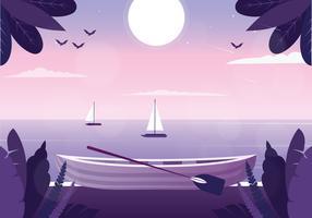 Illustrazione di vettore mare paesaggio