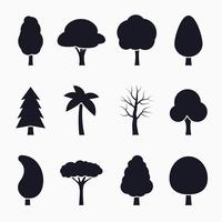 Set di icone sagoma albero vettore