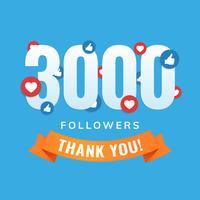 3000 follower, post dei siti social, biglietto di auguri vettore
