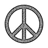 Simbolo di pace, spazzola disegnata a mano, illustrazione vettore