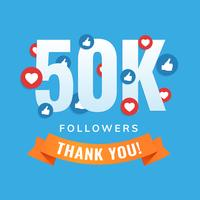 50k follower, post dei siti social, biglietto di auguri vettore