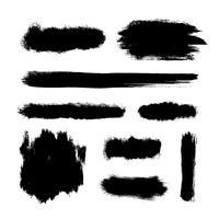 Set di pennellate, striature di vernice nera vettore