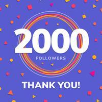 2000 follower, post dei siti social, biglietto di auguri