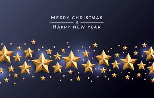 Stella di Natale sfondo oro, con perle e luci