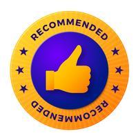 Etichetta raccomandata, timbro rotondo per prodotti di alta qualità vettore