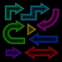 Freccia impostata, effetto neon, illustrazione vettoriale