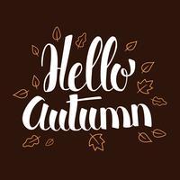 Ciao autunno, progettazione dell'insegna di stagione di calligrafia, illustrazione