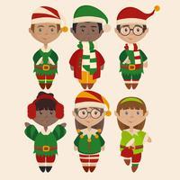 Illustrazioni vettoriali di simpatici elfi