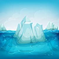 iceberg all'interno del paesaggio oceanico vettore