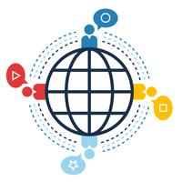 Connessione mondiale, siti web sociali, concetto di comunicazione vettore