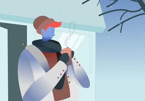 Bere caffè caldo nell'illustrazione di vettore all'aperto di inverno