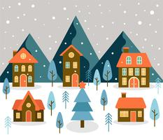 Vettore di paesaggio del villaggio di inverno