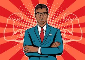 Afro american Man with muscles currency dollar pop art retro style. Strong Businessman in glasses in comic style.