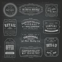 Vintage Labels Ans Signs On Blackboard vettore