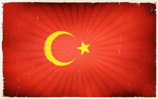 Vintage turkey Flag Poster Background vettore