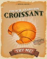 Grunge And Vintage French Croissant Poster vettore
