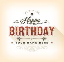 Vintage Happy Birthday Card vettore