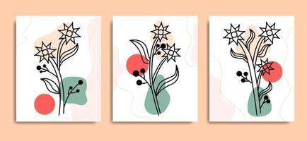 insieme di vettore di disegno di fiori di boho arte minimale estetica linea
