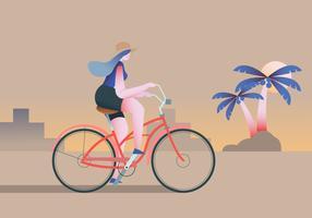 Ragazza in bicicletta intorno al personaggio piatto di vettore spiaggia