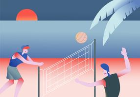 People Playing Volleyball At Beach Vector Flat Illustration