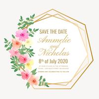 Vector Geometric Watercolor Save the Date Card