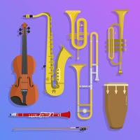 Flat Jazz Musical Instruments Vector Illustration