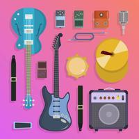 Flat Rock Musical Instruments Knolling Vector Illustration