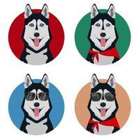 set di diversi husky con la lingua fuori vettore